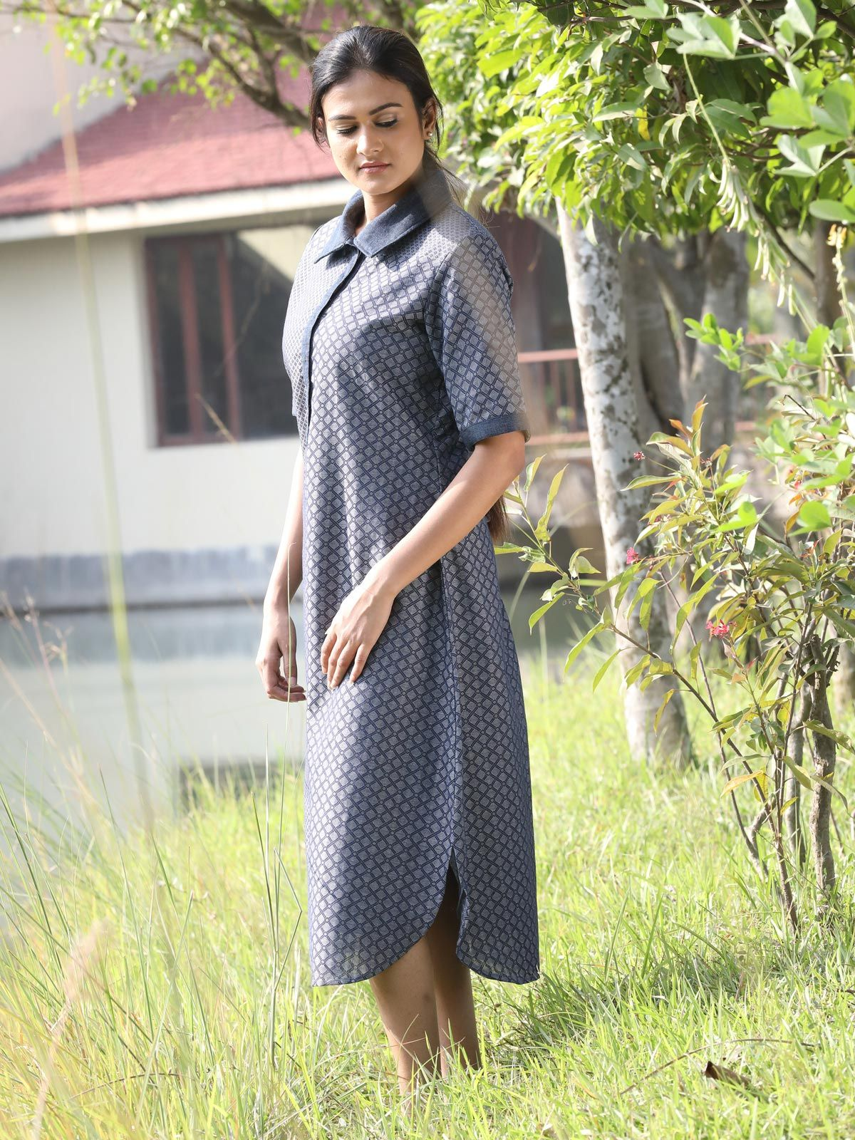 Blue color jaquard dress and khadi denim.