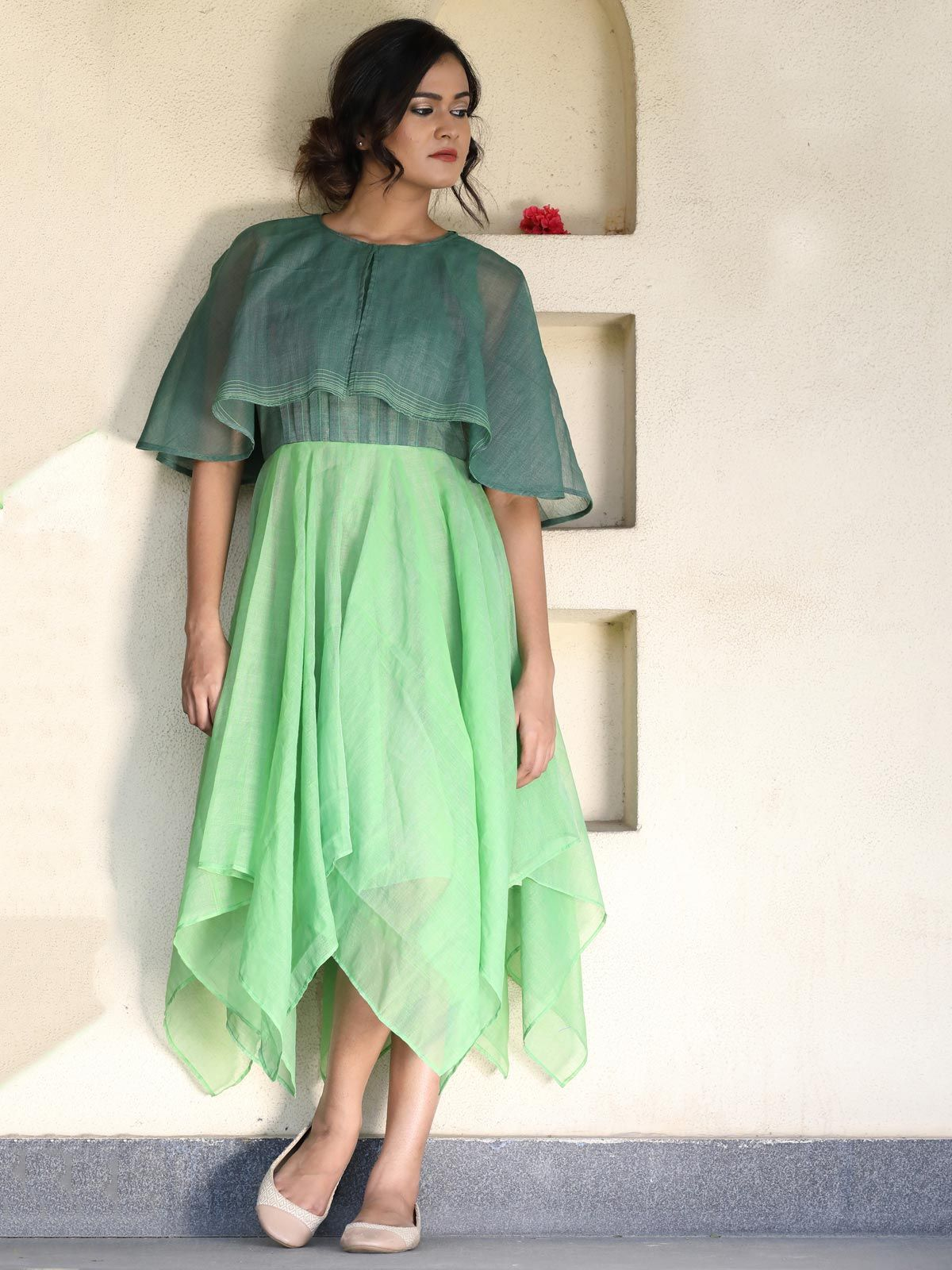 Green and pine green handloom dress and flared yoke