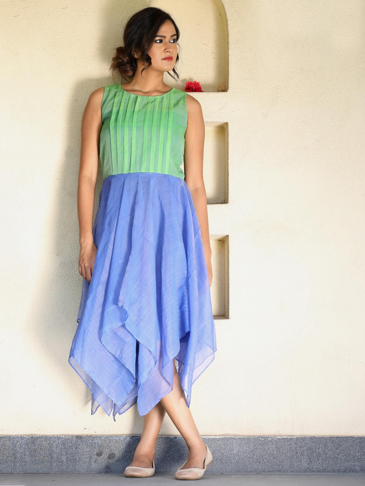 Green and blue handloom dress and flared yoke