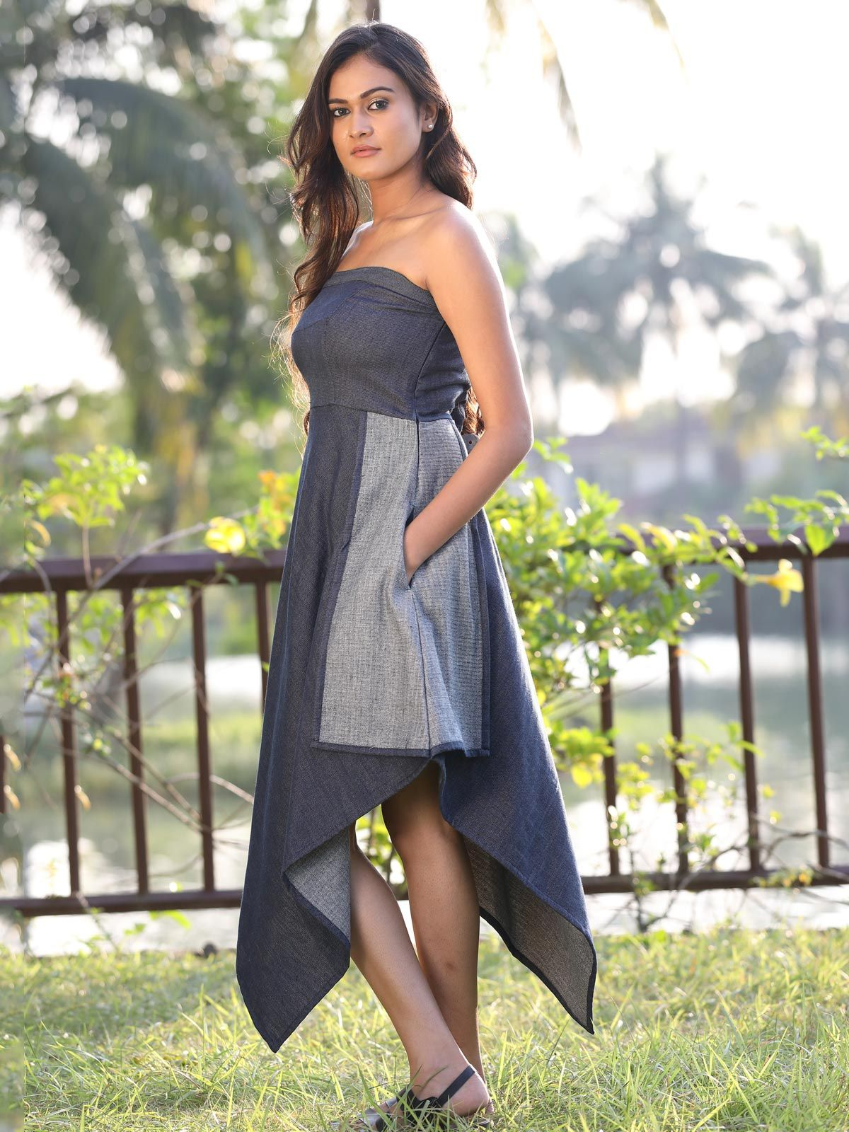 Blue khadi denim cotton silk tube dress