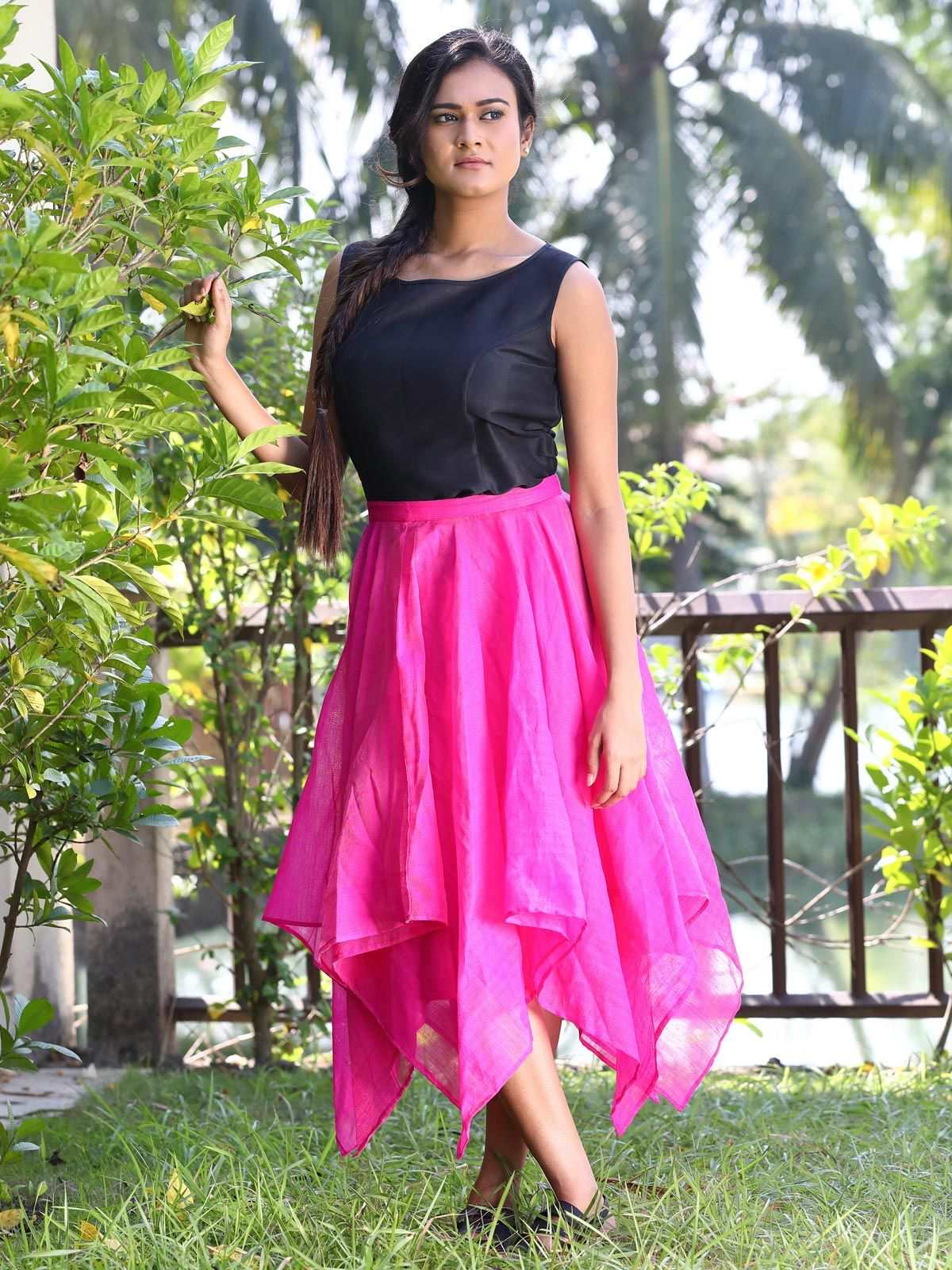 Hot pink handloom cotton silk falred skirt