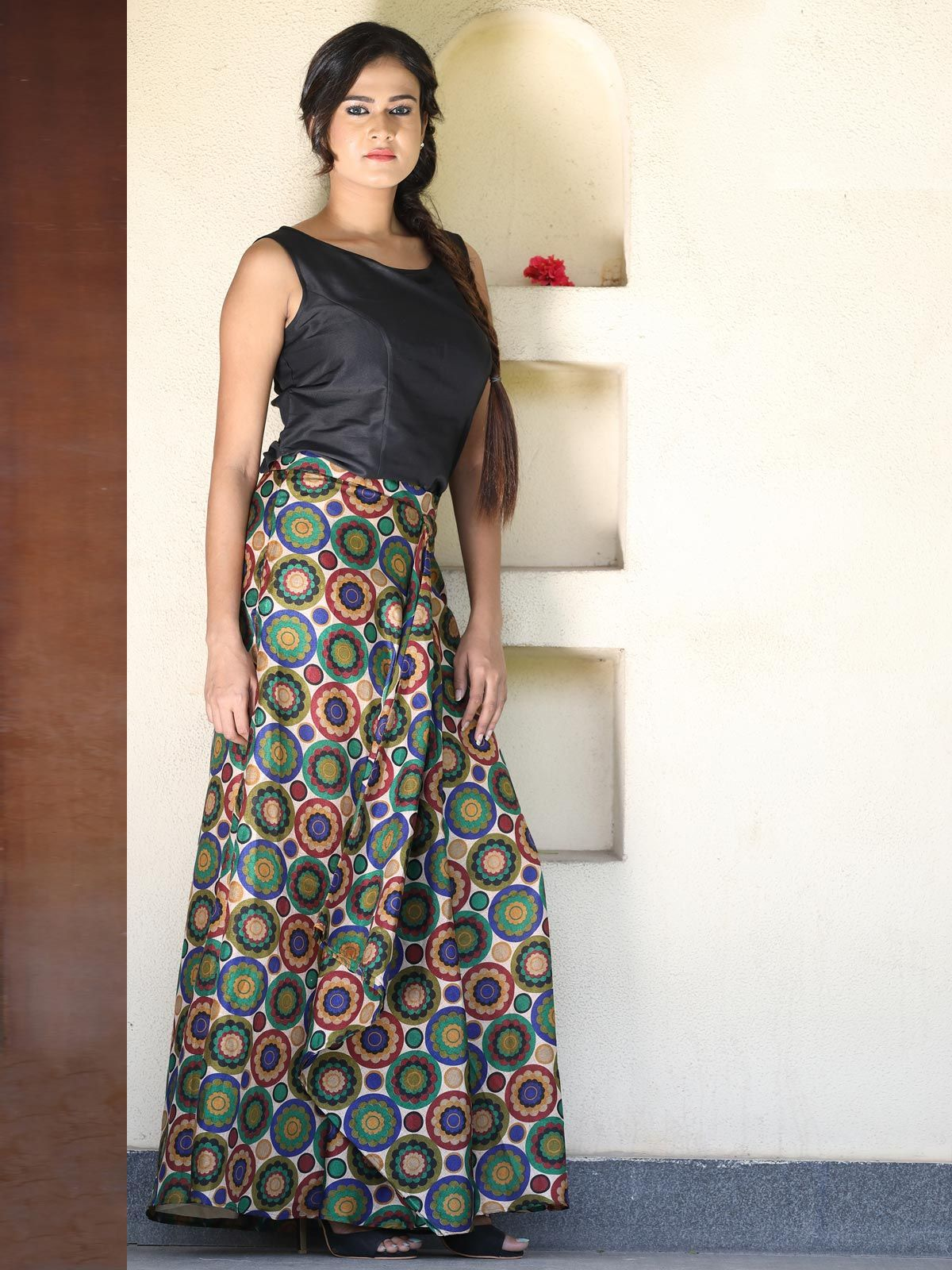 Multicolor printed front drape silk skirt.