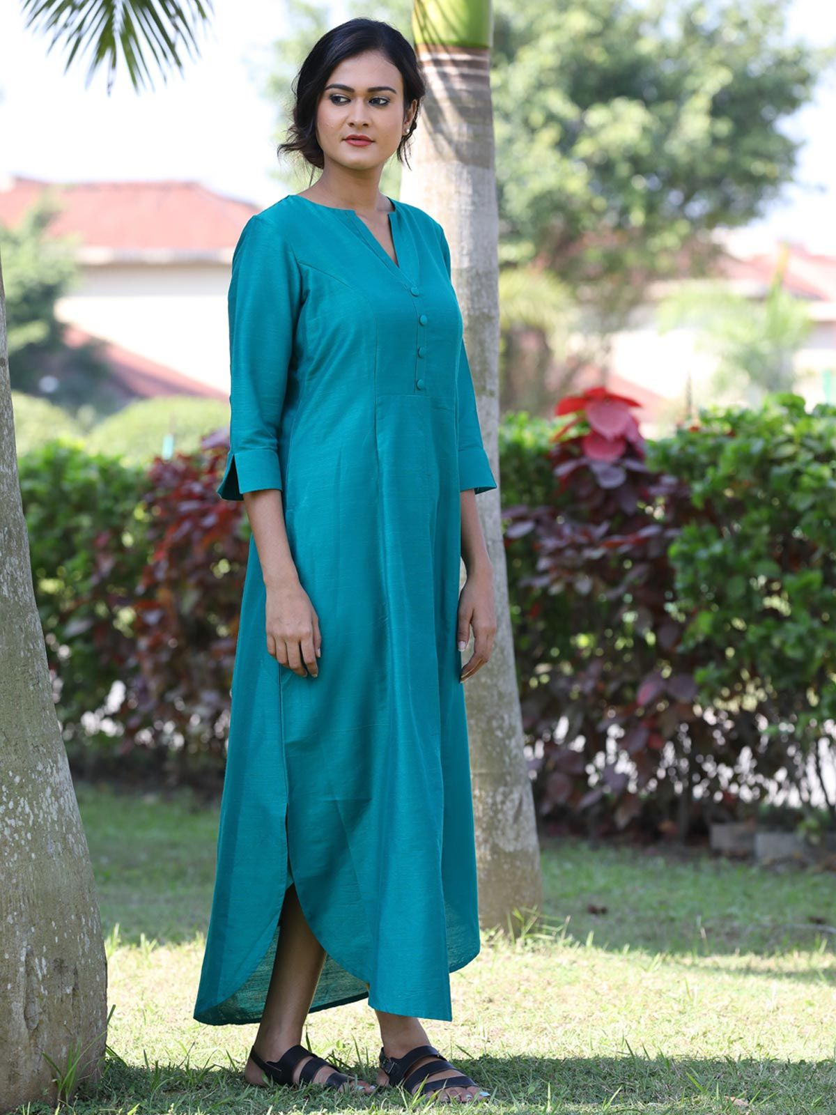 Turquoise blue cotton silk long dress