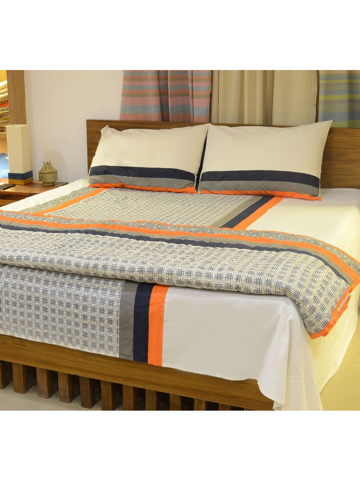 Blue Block Printed Cotton Quilt - For Double Bed