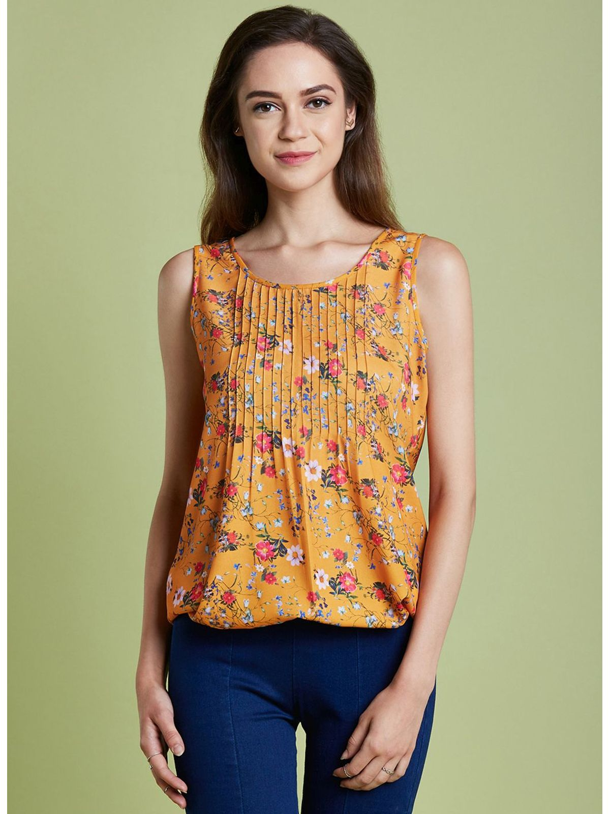 65d6fcd1556ef5 Orange Floral Sleeveless Top ...