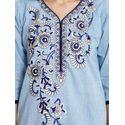 Aujjessa Blue Khadi Plazzao Suit Set