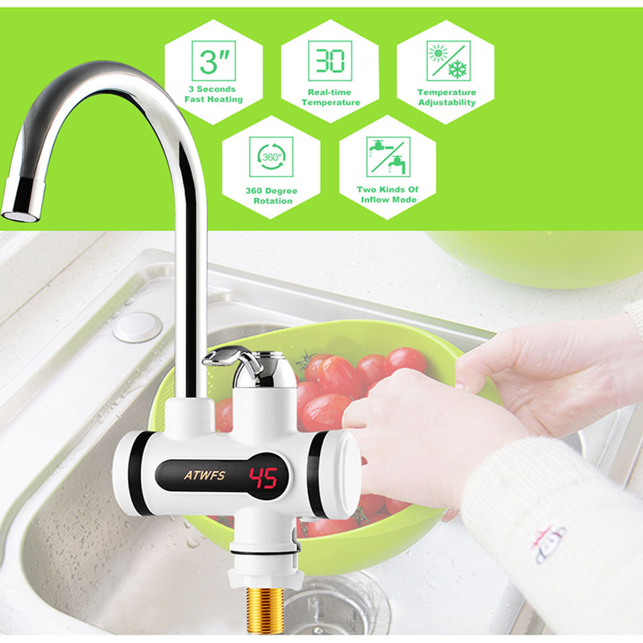 Atwfs Electric Kitchen Water Heater Tap Instant Hot Water Tankless Faucet