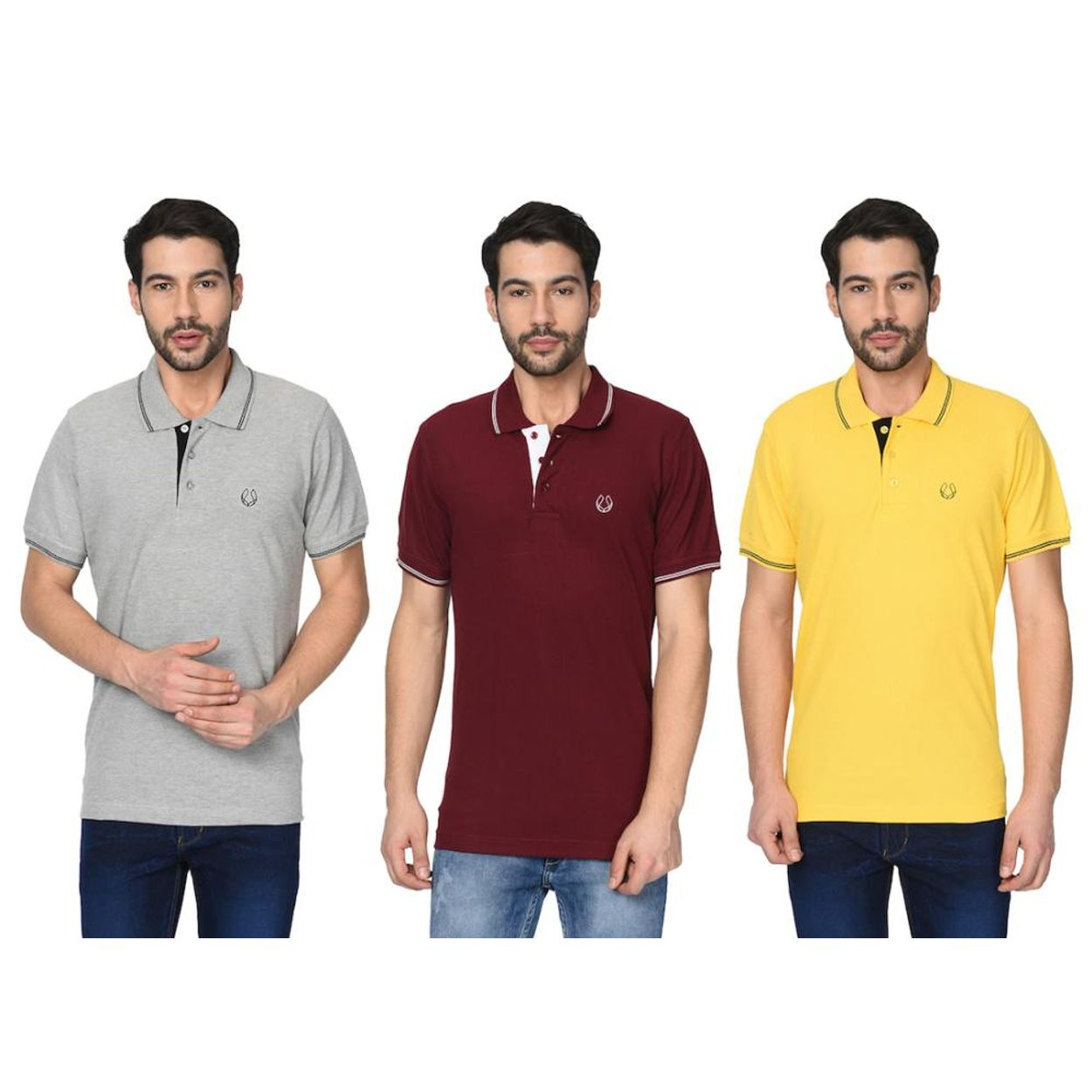 b8ab8ee5 zoom Fruch Men's Polo T-Shirt with Tipping Collar Combo (Pack Of 3). 1; 2