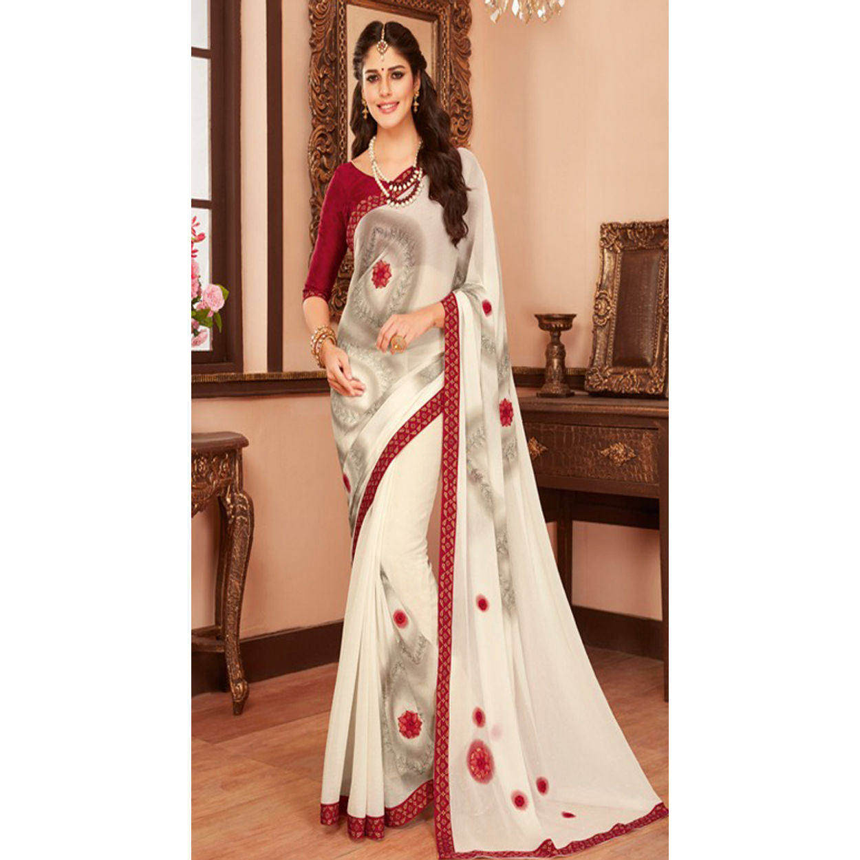 e0aaebafc2 Gokedia Designer Red And White Saree With Floral Embroidery | Pa1d ...