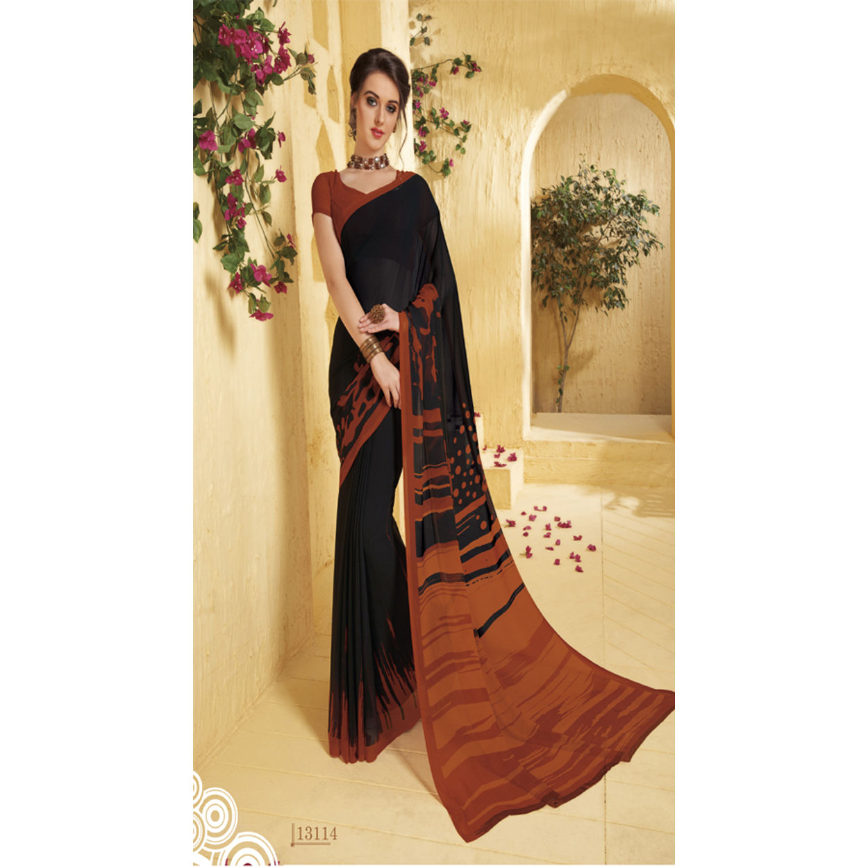 982ec00909 Gokedia Beautiful Print Georgette Saree | Su1cho13114