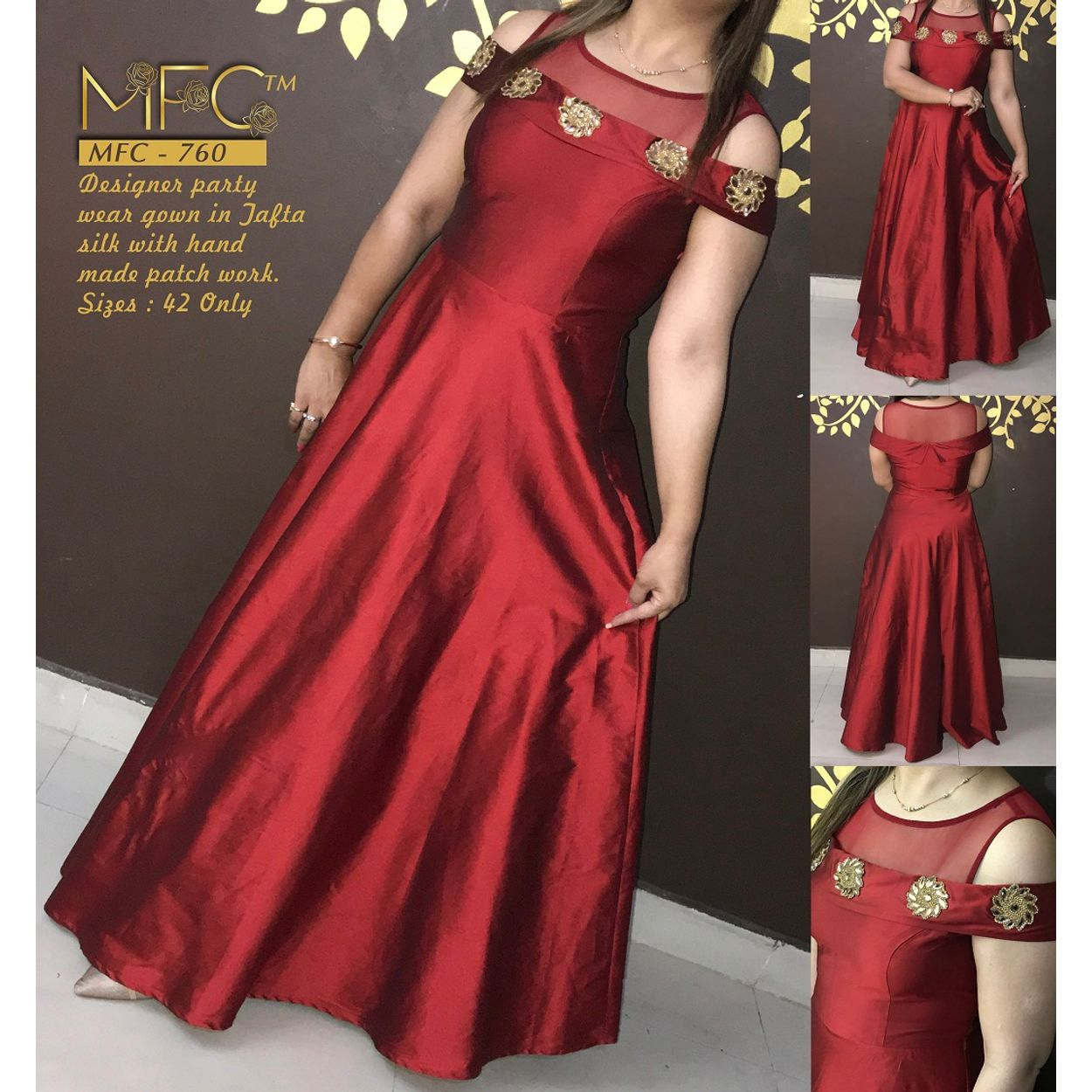 04b4c4867d6 MFC-760 Designer Party wear gown in jafta silk with hand made patch work