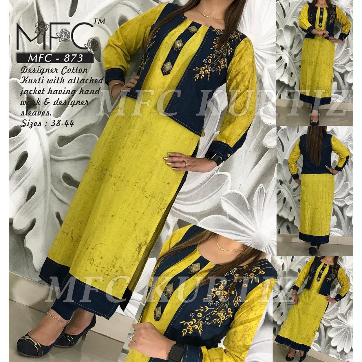 MFC-873 Designer cotton kurti with attached jacket having handwork &  Designer sleeves