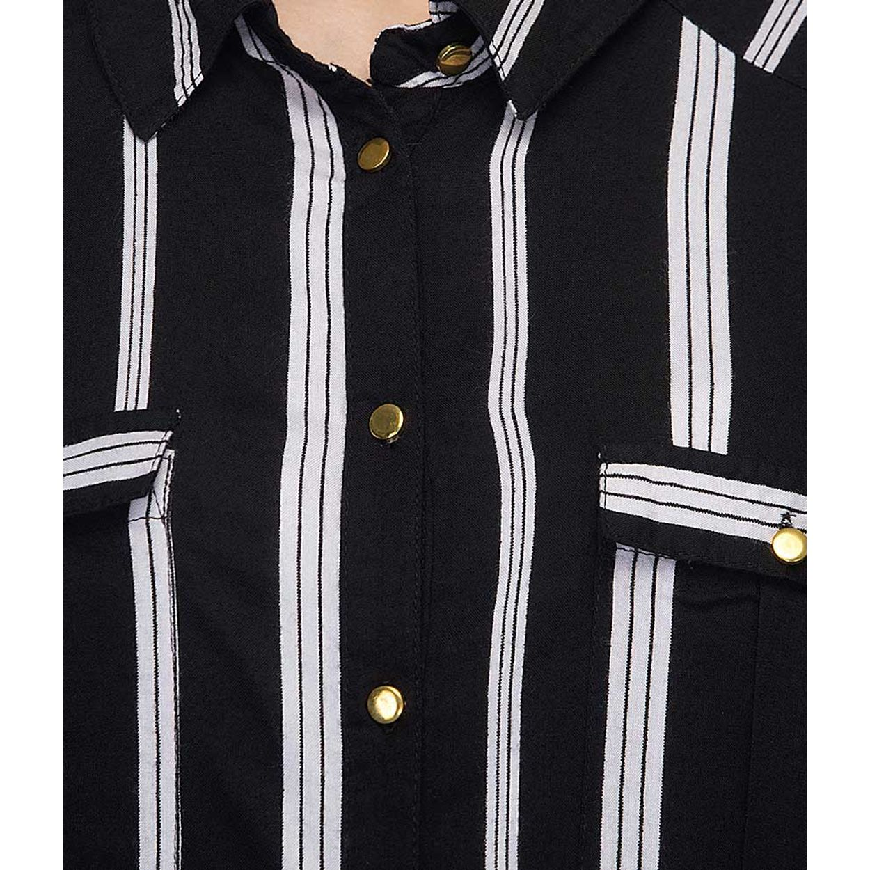 Black Button-down Striped Shirt