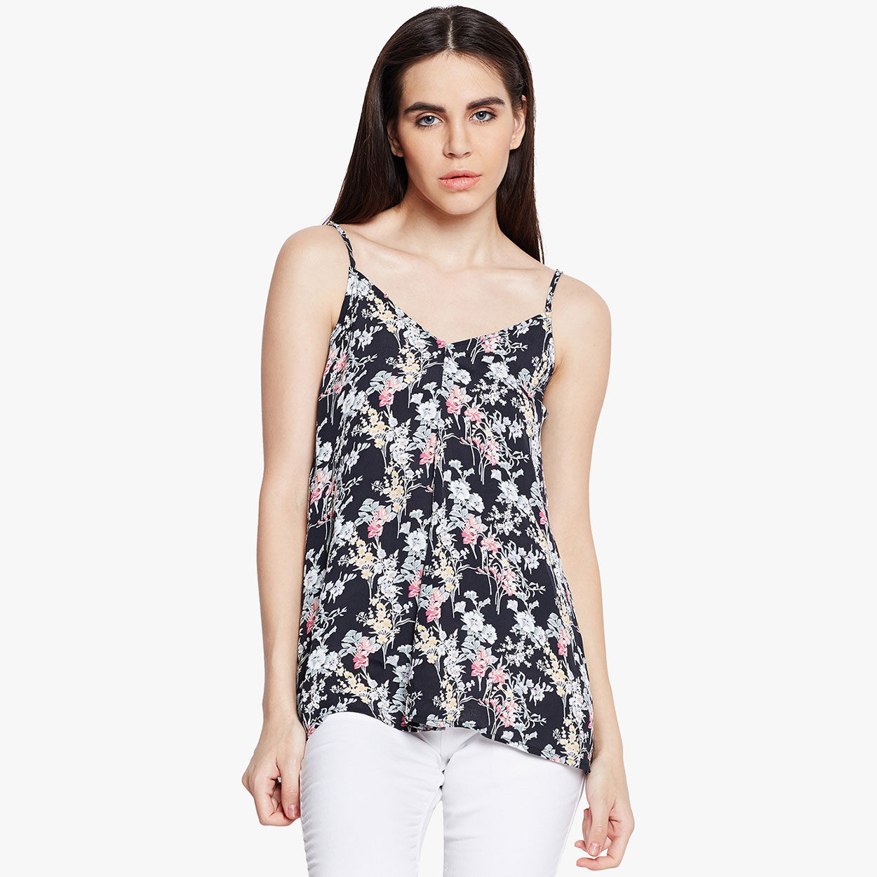 f48545d9156 Buy Oxolloxo Black Floral Print Sleeveless Cami Top