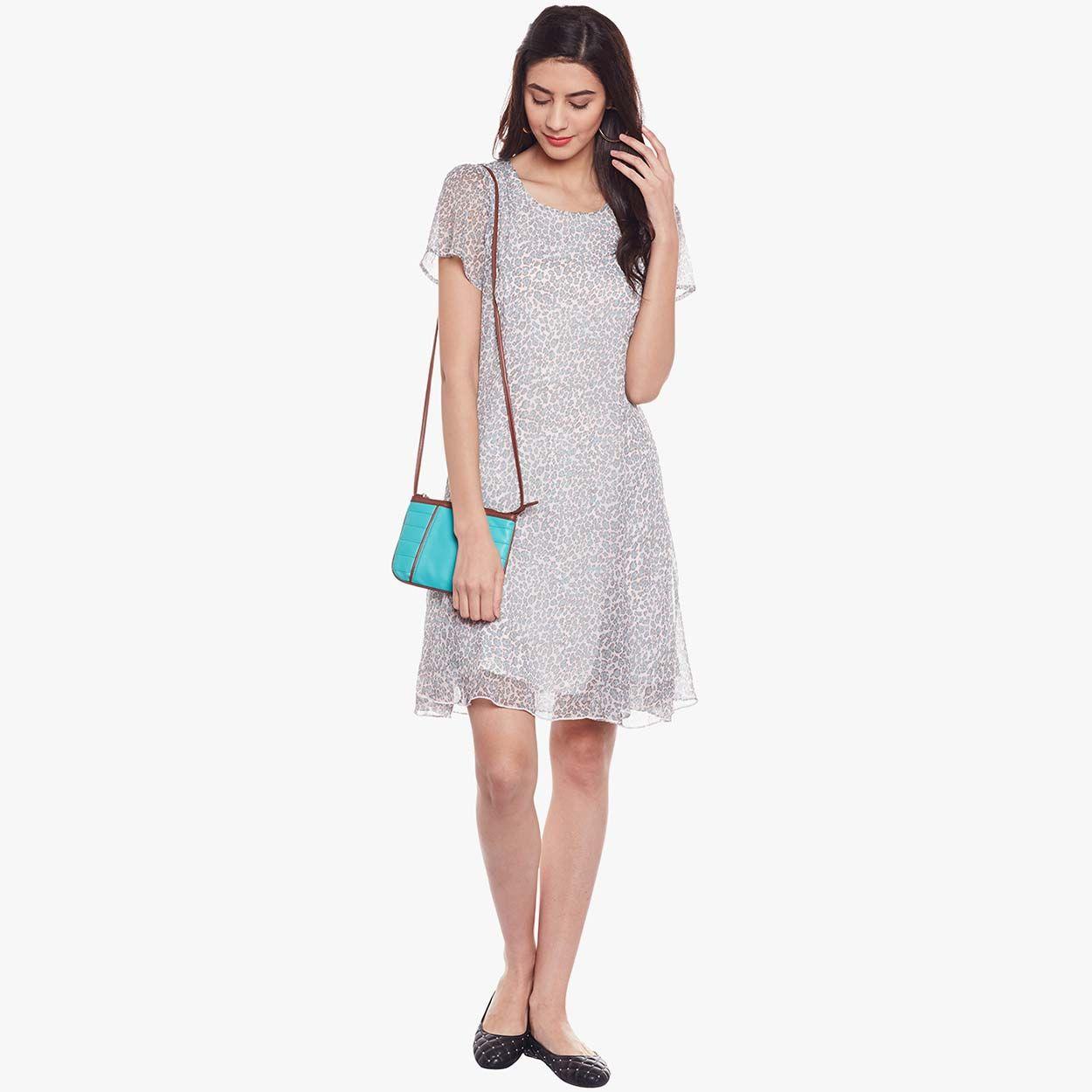 28009b4c29 Buy Oxolloxo Animal Print Grey A-line Dress