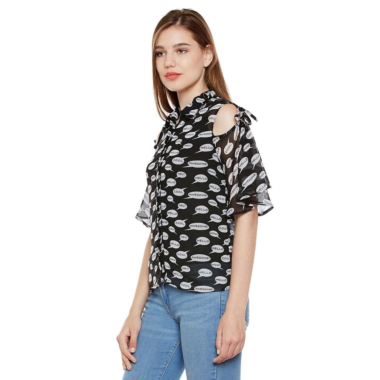 25f2f7935aa47 Buy Oxolloxo Alpha Print Cold Shoulder Shirt