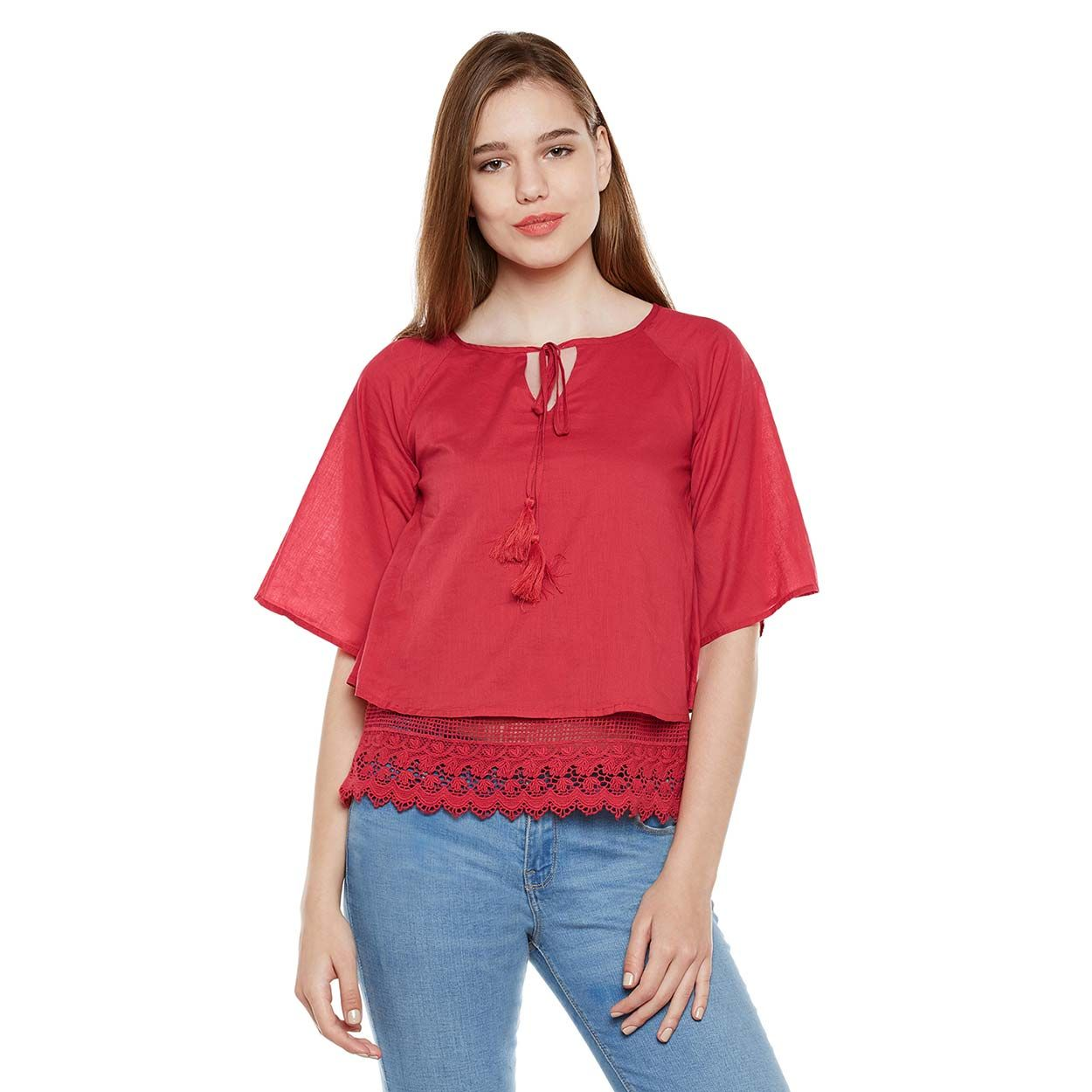 Red Lace Top With Tussles | W17056wbl004