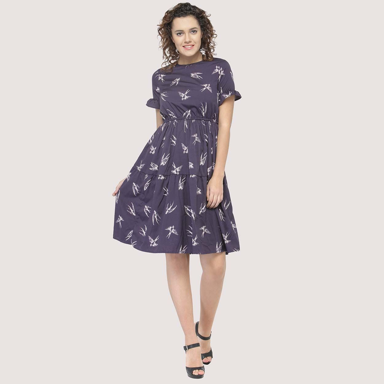 3e93dc8103bc Buy Oxolloxo Purple Printed Flared Dress