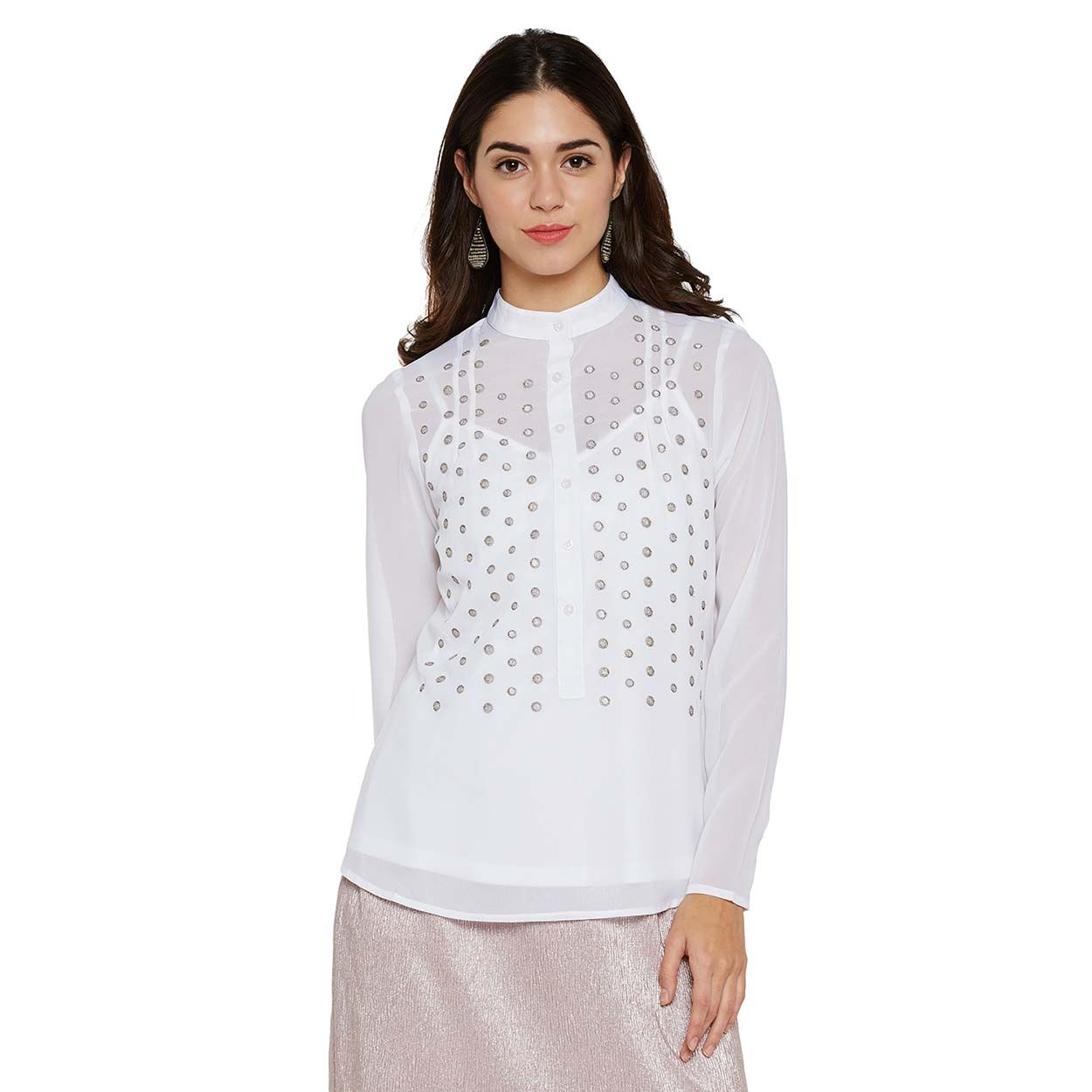 08b5bb1e69 Buy Oxolloxo White Sheer Embroidered Top