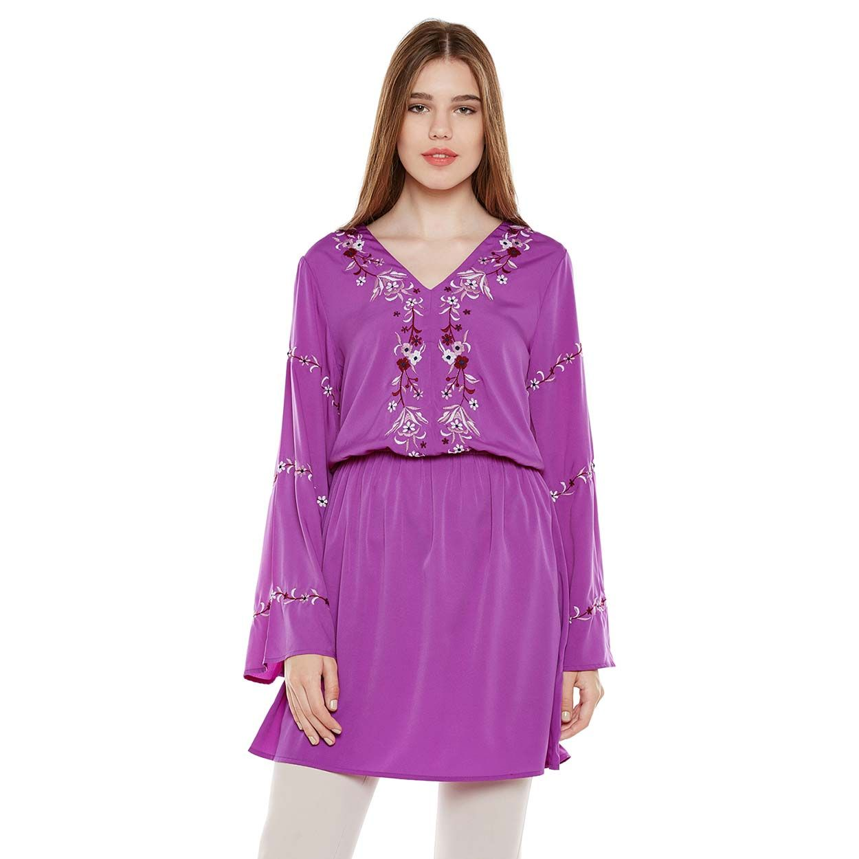 Buy Oxolloxo Pink Embroidered Tunic