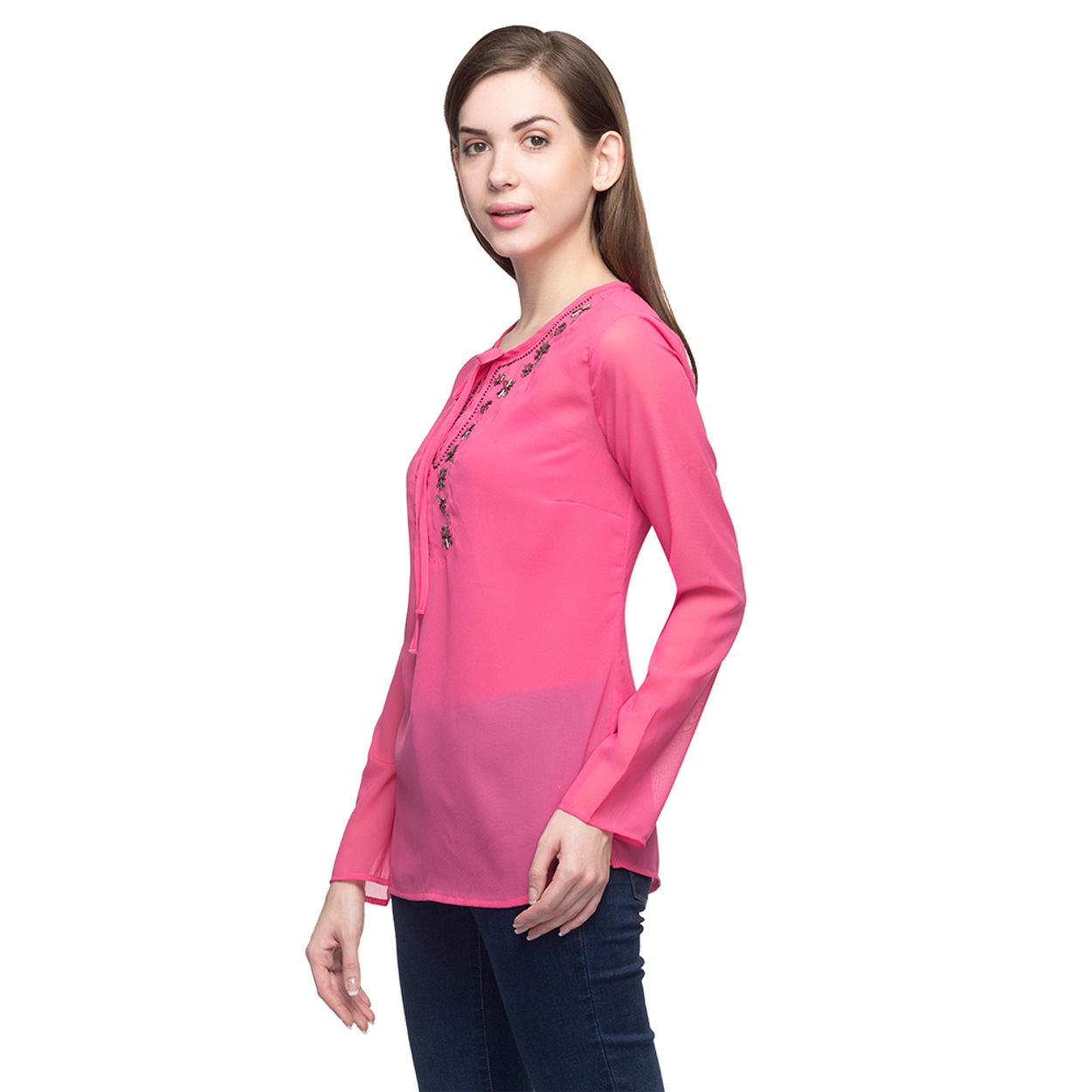 Women Pink Embellished Top
