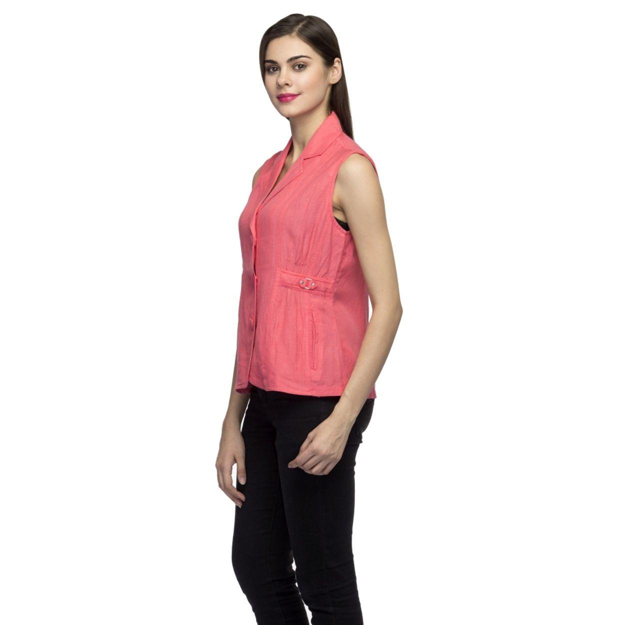 8f72f1fbfd4cd zoom Women Pink Sleeveless Blazer. 1  2