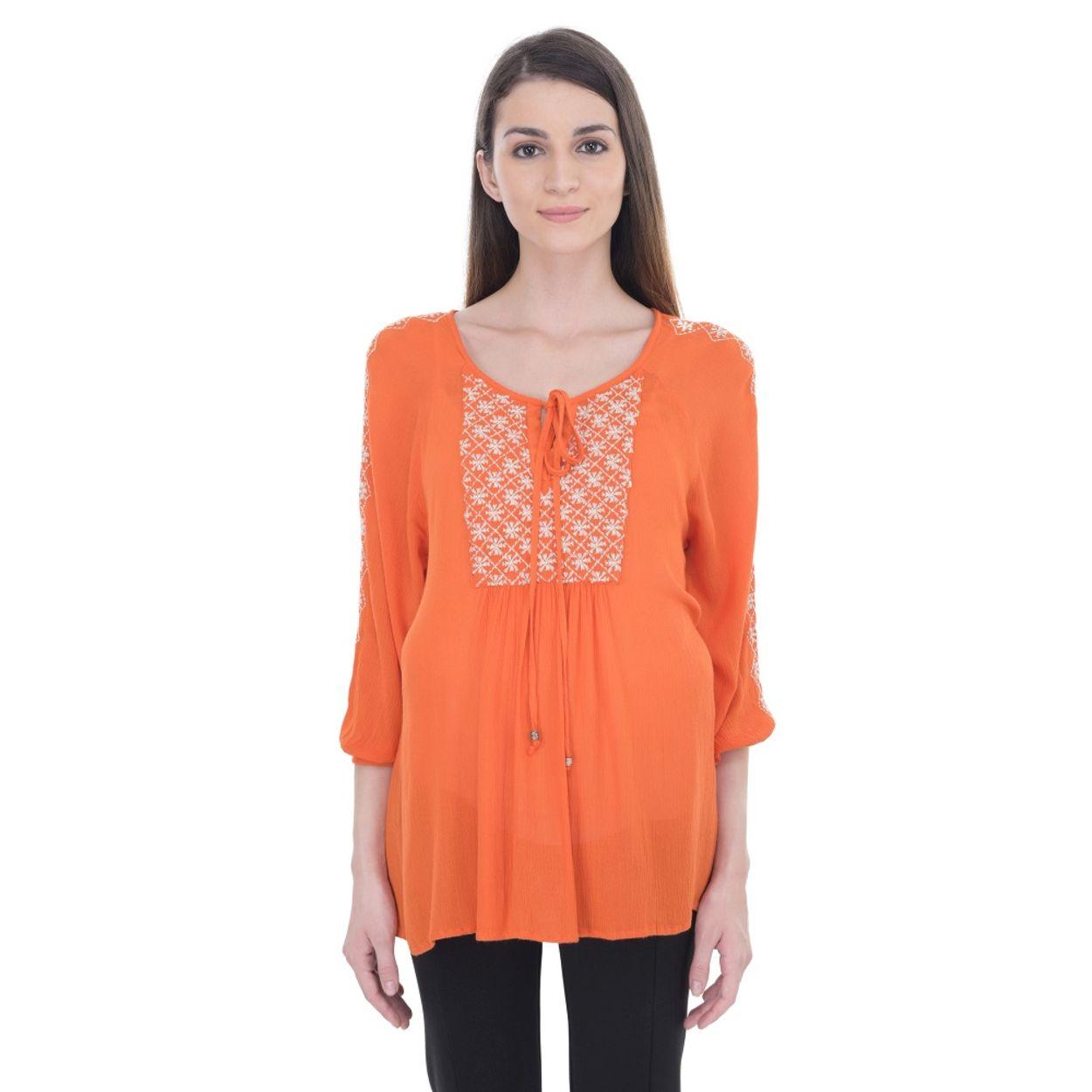 zoom Maternity Orange Embroidered Tunic. 1  2