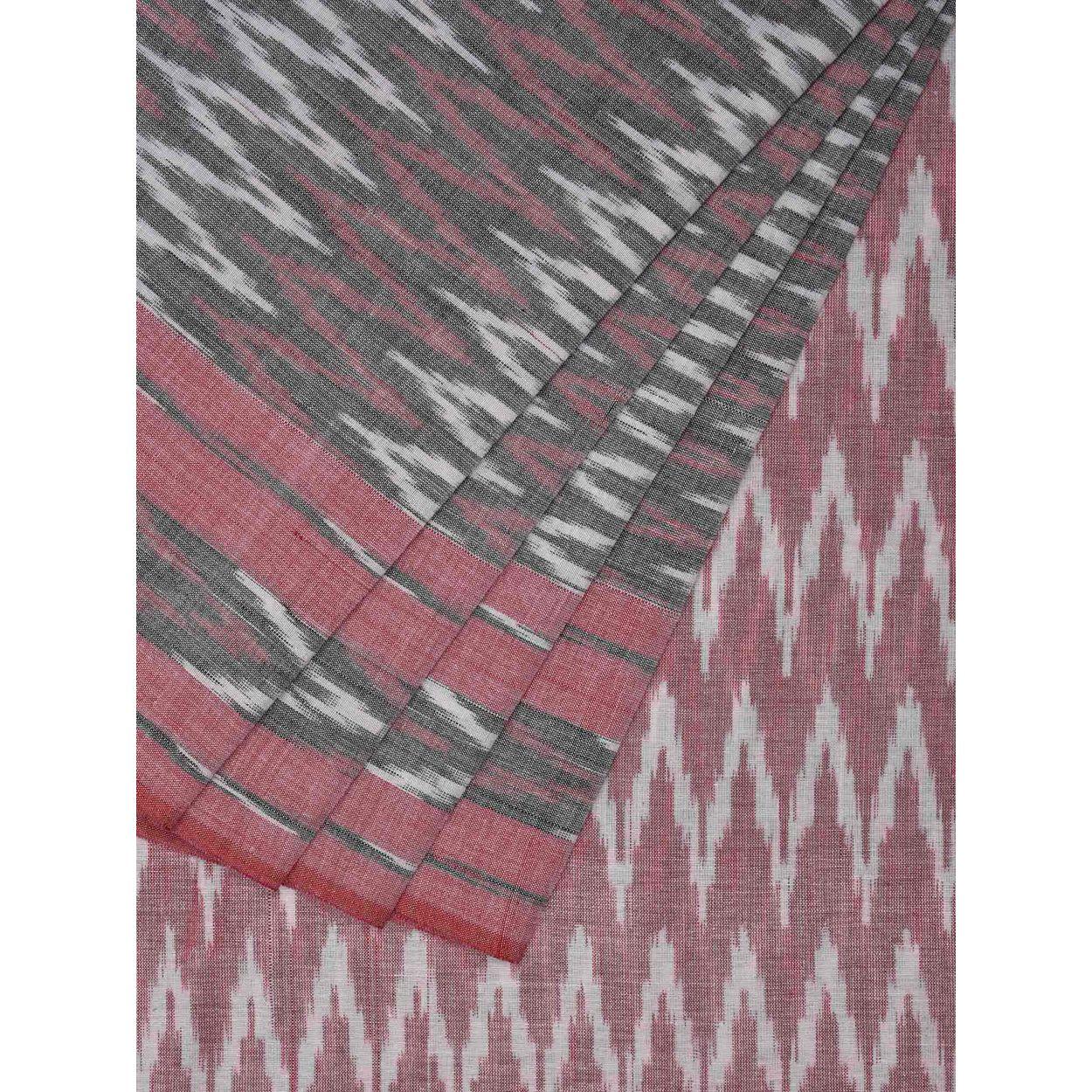 Baby Pink And Grey Color Sari Pochampally Ikat Cotton Handloom Blouse Zig Zag 1 2