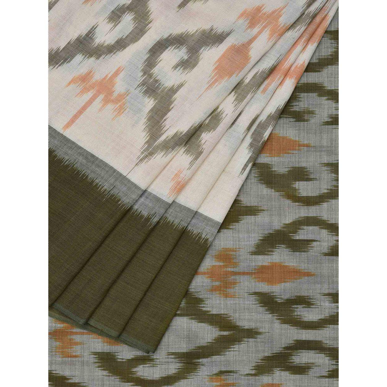 c3d88c8823ac08 Green and White Color Sari   Pochampally Ikat Cotton Handloom Saree ...