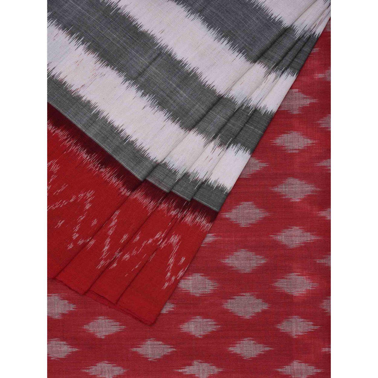 15eac5b69767c1 Grey Color Sari   Pochampally Ikat Cotton Handloom Saree i0461