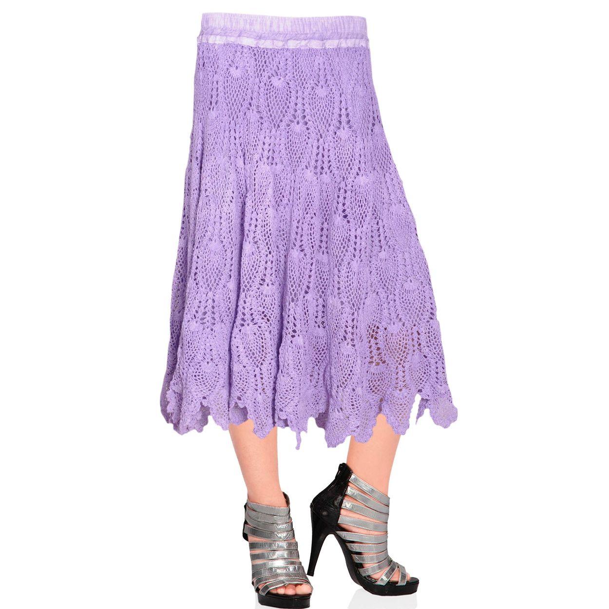 lavender cotton skirt handloom crochet skirt full length