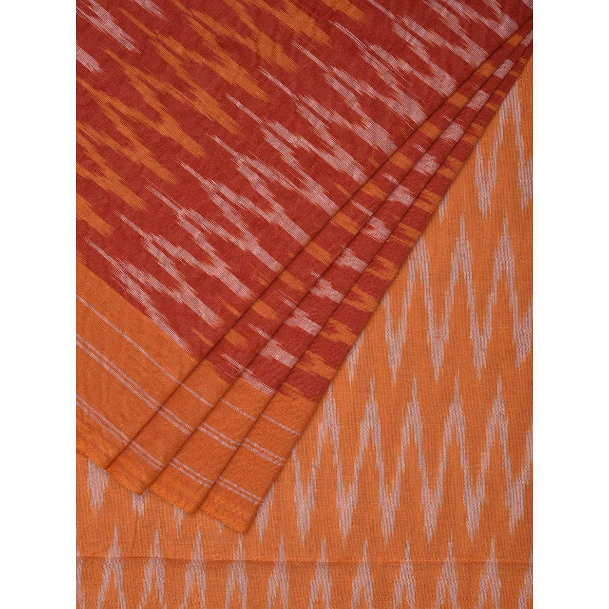 Orange Color Sari Pochampally Ikat Cotton Handloom Saree I0457 Blouse Zig Zag 1 2