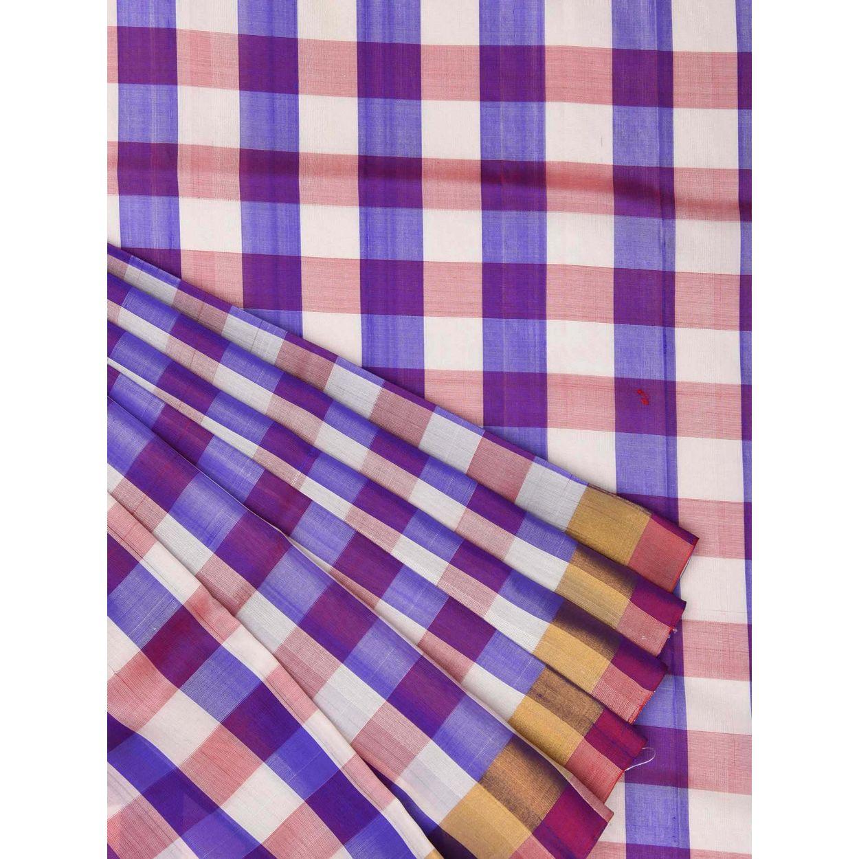 Purple color sari uppada silk handloom saree u1206 for New check designs