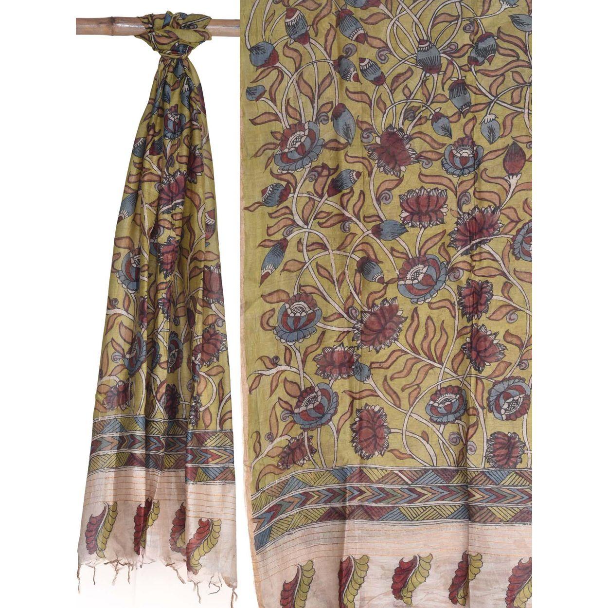 Yellow color chunni kalamkari hand painted cotton silk dupatta ds1688 previous next izmirmasajfo