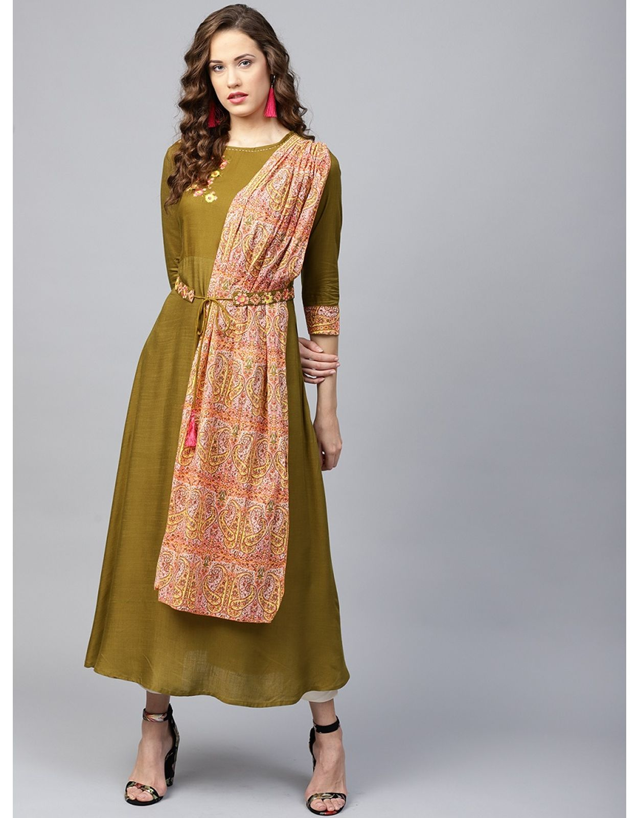 yufta women olive green solid a line kurta with attached dupatta