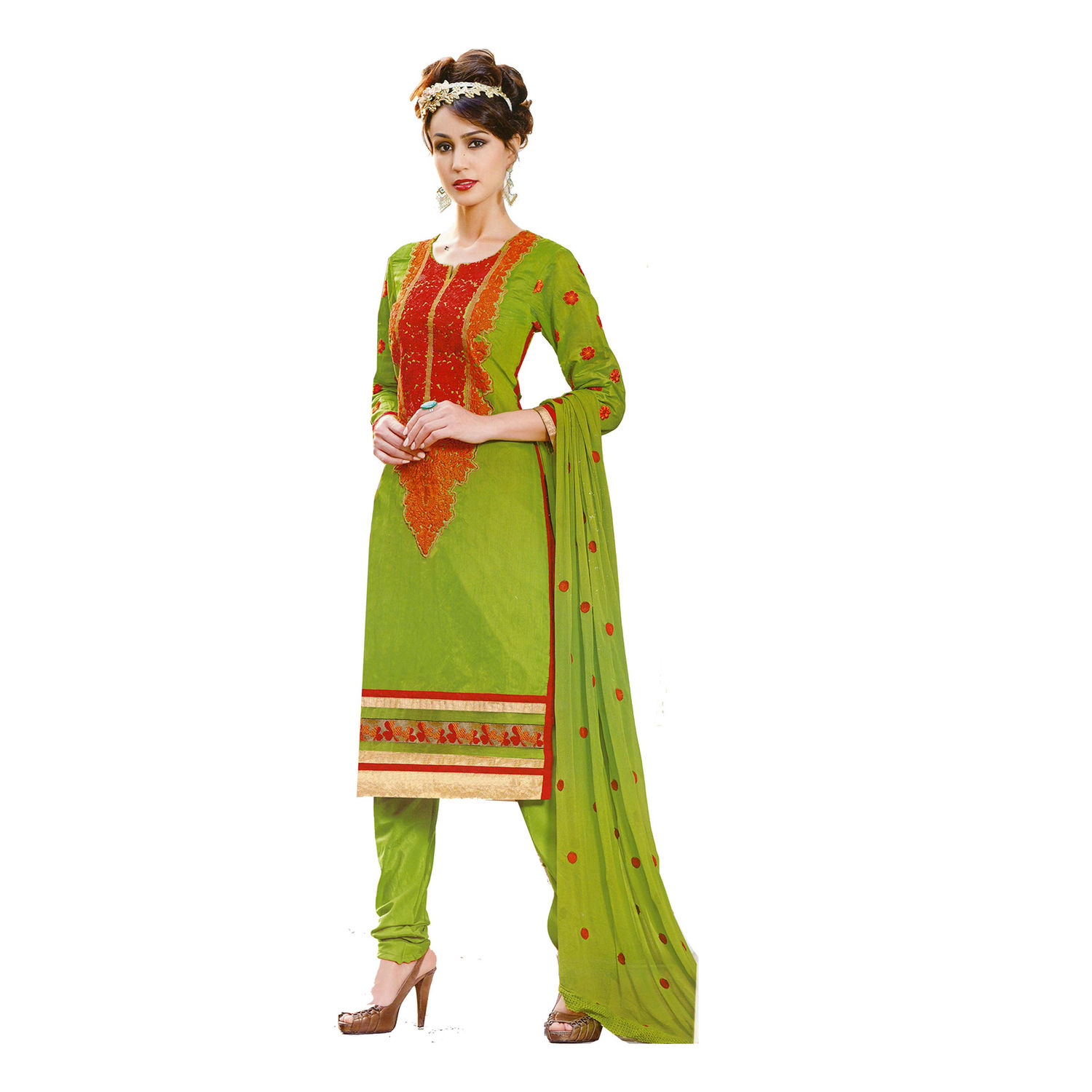 Buy ls green embroidered unstitched dress material online