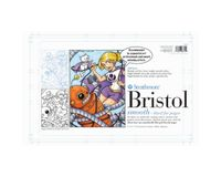 Strathmore 200 Series Sequential Art Bristol 11''x17'' Extra White Extra Smooth 270 GSM Paper with Non-reproducible Blue Lines, Short-Side Tape Bound Pad of 24 Sheets