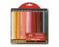 Koh-I-Noor Mondeluz Artist's Water Soluble Coloured Pencils - Portrait - Set of 24 in Tin Box