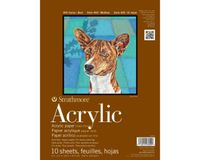 Strathmore 400 Series Acrylic 9''x12'' Cream Canvas Texture 400 GSM Paper, Short-Side Glue Bound Pad of 10 Sheets