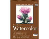 Strathmore 400 Series Watercolor 12''x18'' Natural White Medium Grain 300 GSM Paper, Short-Side Spiral Bound Album of 12 Sheets