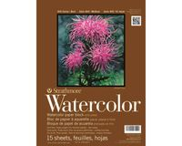 Strathmore 400 Series Watercolor 11''x15'' Natural White Medium Grain 300 GSM Paper, Four-Side Glued Block of 15 Sheets