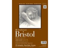 Strathmore 400 Series Bristol 9''x12'' Extra White Extra Smooth 270 GSM Paper, Long-Side Tape Bound Pad of 15 Sheets