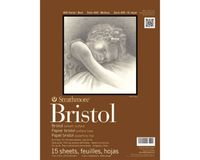Strathmore 400 Series Bristol 11''x14'' Extra White Extra Smooth 270 GSM Paper, Long-Side Tape Bound Pad of 15 Sheets