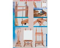 MABEF Beech Wood Double Mast (Pole) Studio Easel - H Frame - with Crank for Elevation & Inclination