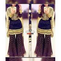 Navy Blue/Beige Sharara Dress