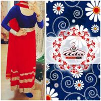 Sizzling Red/Blue Anarkali Dress