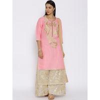 Aujjessa Pink Cotton Plazzao Suit Set