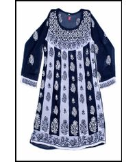 Black n White Chikan Work Kurti