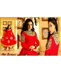 Stylish Red Silk Anarkali