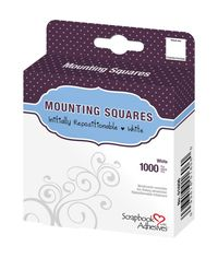 """Mounting Squares 1000/Pkg - Repositionable, White, .5""""X.5"""""""